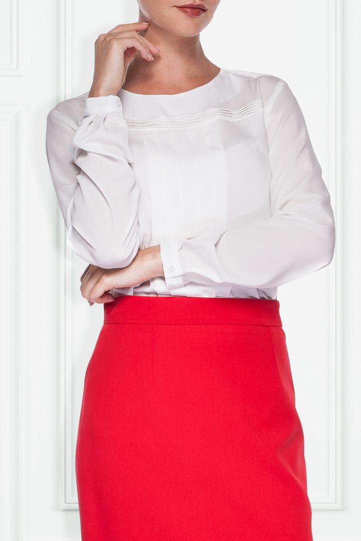 Dopasowana, czerwona spódnica - Bialcon
