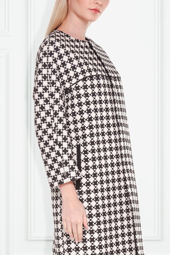 Czarno-biały płaszcz we wzór - Patrizia Aryton