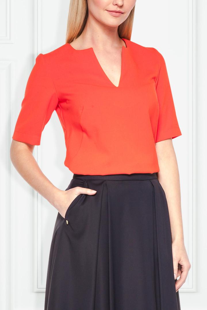 Granatowa spódnica z przeszyciami - Moda SU