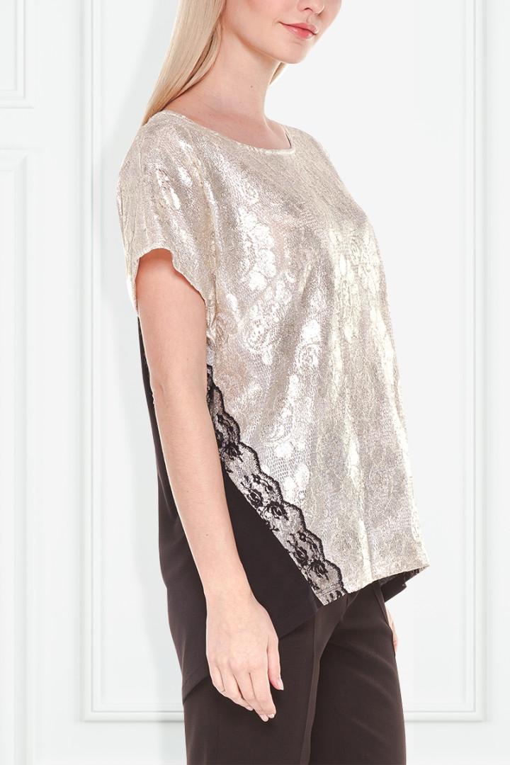 Wizytowa bluzka z metaliczną koronką - Semper
