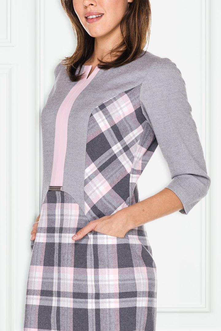 Szaro-różowa sukienka w kratkę – Aldona