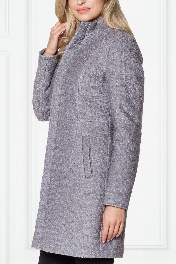 Szary płaszcz ze stójką – De Facto