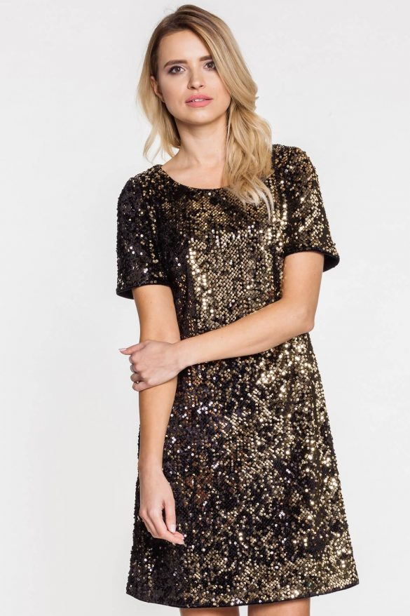 Błyszcząca sukienka z cekinami na sylwestra